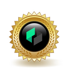 Ubiq cryptocurrency coin gold badge vector