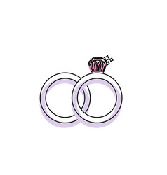 wedding ring to symbolic the love vector image vector image