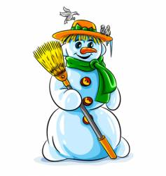 Winter snowman with broom vector