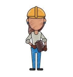 Woman construction worker vector