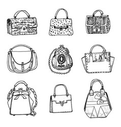 women s bags vintage style hand drawn doodle vector image