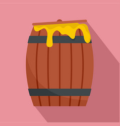 wood honey barrel icon flat style vector image