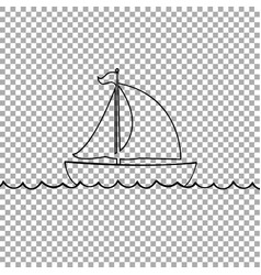 yacht boat icon isolated on transparent background vector image