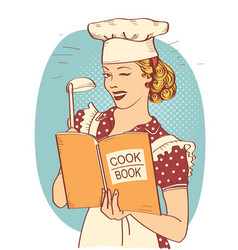 young woman chef holding cook book in her hand on vector image