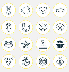 animal icons set collection of moose bumblebee vector image vector image