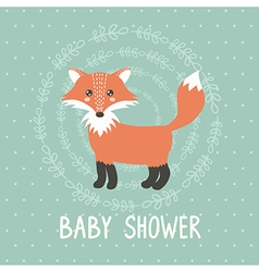 Baby shower card with a cute fox vector image