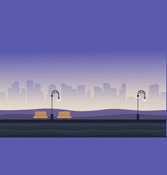 background game with chair and street lamp on vector image vector image