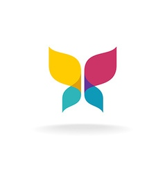 Colorful butterfly logo Overlay transparent sheets vector image vector image