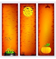Orange Halloween banners backgrounds set vector image vector image