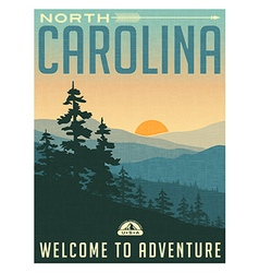 Retro style travel poster North Carolina vector image