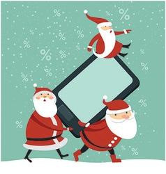 Three funny Santas holding smartphone vector image