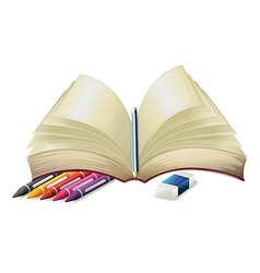 A book with a pencil an eraser and crayons vector image