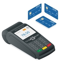 Credit card terminal on a white background vector image vector image