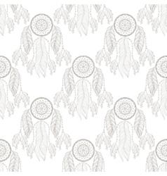 Hand drawn tribal Dream catcher seamless pattern vector image