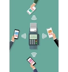 Nfc payment flat design style vector image vector image
