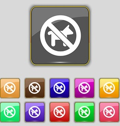 Dog walking is prohibited icon sign set with vector