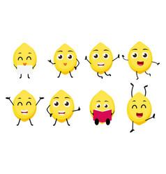 lemon fruits cartoon character vector image vector image
