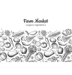 vegetable hand drawn vintage vector image