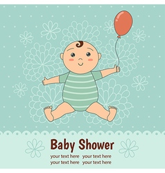 Baby shower card with a cute baby boy vector image vector image