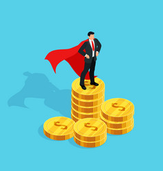 businessman standing on a stack of money vector image vector image
