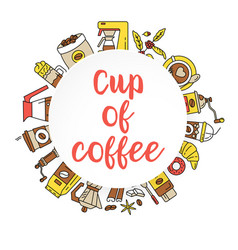 coffee flat line collection drink decorative icons vector image
