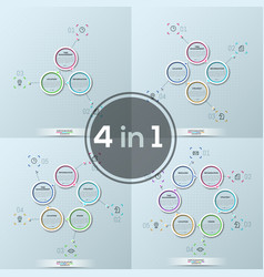 collection of four modern infographic design vector image vector image