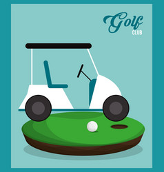 Golf club car ball field vector