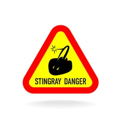 Stingray warning symbol Triangle sign with vector image vector image