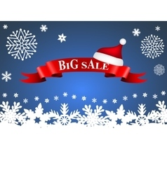 tape with the word big sale and hat of Santa Claus vector image vector image