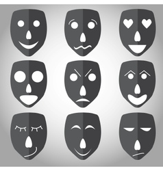 Theater mask emotion set vector image