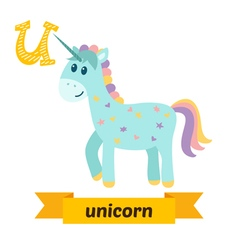 Unicorn U letter Cute children animal alphabet in vector image