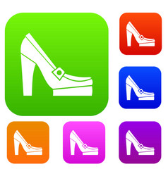 women shoes on platform set collection vector image vector image