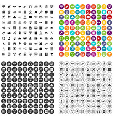 100 education technology icons set variant vector