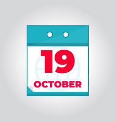 19 october flat daily calendar icon vector image