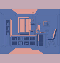 3d living room in simple vector image
