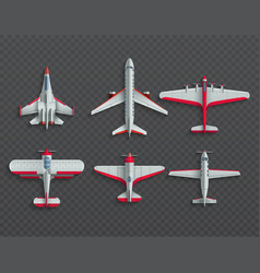 Airplanes and military aircraft top view 3d vector