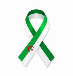 algerian flag stripe ribbon on white background vector image
