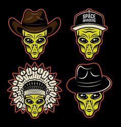 Alien heads in different headdress set vector