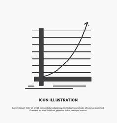 arrow chart curve experience goal icon glyph gray vector image