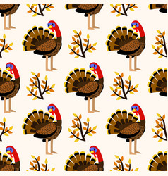autumn cute seamless pattern with turkey birds vector image