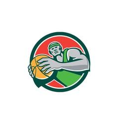 Basketball Player Holding Ball Circle Retro vector image