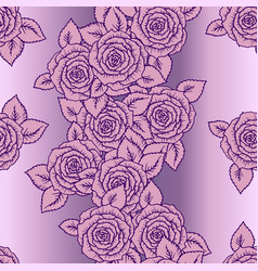 beautiful pink and lilac seamless pattern roses vector image