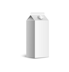 blank white juice box mockup isolated on white vector image