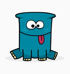 Blue cute monster vector