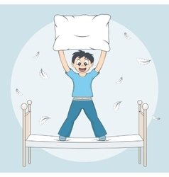 Boy starts pillow fight Child with cushion on bed vector