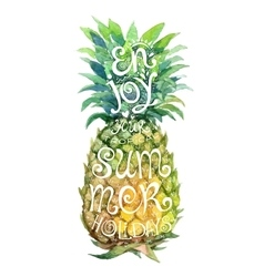 Bright watercolor pineapple silhouette with grunge vector