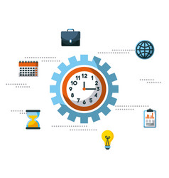 business clock time inside gear work team vector image