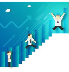 Businessman climbing career ladder vector