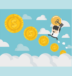 Businessman up the ladder coin steps of the coins vector