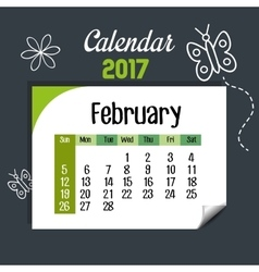 calendar february 2017 template icon vector image